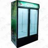 Refrigerador vertical de Visi del refrigerador del refrigerador de la bebida inmediata de 2 puertas dobles