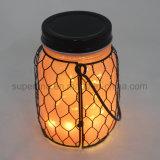 Indicatore luminoso caldo del vaso di bianco LED di lampeggio a pile di vetro di colore rosa di riflessione di estate