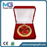 최신 우단 선물 상자를 가진 판매에 의하여 주문을 받아서 만들어지는 구리 메달