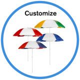 フリンジが付いているカスタム木のタケ浜の日傘