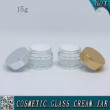 frasco de vidro cosmético de 15ml 1/2 onça para o creme de face com tampa de alumínio