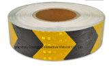 Желтая и черная опасность PVC предупреждая отражательную ленту для тележки