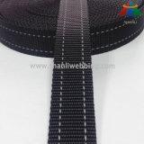 1インチの黒2はドッグカラーおよび鎖のための反射ポリエステルウェビングを縞で飾った