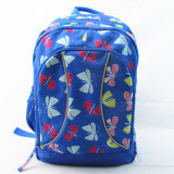 重いパッドを入れられた青い蝶プリントバックパック