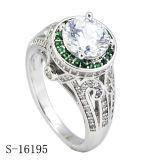 순은 보석 Micropave 루비는 다이아몬드 반지를 둥글게 된다