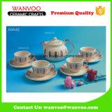 전통적인 디자인 컵 & 접시를 가진 현대 사기그릇 커피 세트 차 세트
