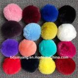 袋のためのウサギの毛皮のポンポンの毛皮の球のKeychainの黒い魅力