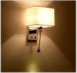 Interior Moderno Bedside LED lâmpada de parede de colher de sopa com linho de leite Tela branca de sombra para cama, Chrome Stee