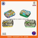 Custom rectangular pequeña cubierta protectora del caramelo de menta caja de la lata de embalaje