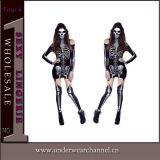 Costume di scheletro del pagliaccetto di natale adulto sexy operato di Halloween (8948)