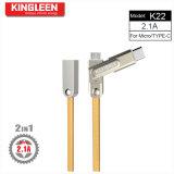 Type-c de câble de caractéristiques K22 de Kingleen/micro modèles 2 dans 1 2.1A sorti