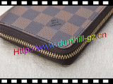 Zipper novo das mulheres em torno da carteira no couro genuíno