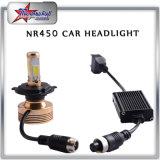 Super brillante 4 lados LED con ventilador H4 H13 LED faro para automóviles Motocicleta COB chip LED 50W de alta baja haz LED faro bombilla
