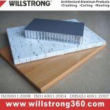 Panneau en aluminium de nid d'abeilles de texture en bois pour extérieur