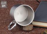 Doble pared de acero inoxidable taza de café con negro PP tapa y mango