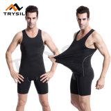 Parte superiore di serbatoio nera di usura di ginnastica di estate di compressione con gli insiemi degli abiti sportivi dei pantaloni di scarsità