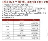 Válvula de porta assentada metal do ósmio $ Y do ferro de molde