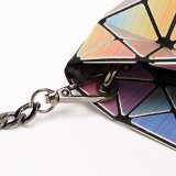 Rainbow PU Metal Strap Zipper Lady Handbag (A0111)