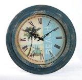 Anatique adorna el reloj de pared redondo grande del metal del número romano