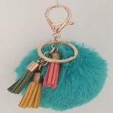 Ключ очаровывает анизотремуса Keychain большого части/шерсти/шарик шерсти кролика