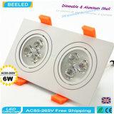6W calientan el poder más elevado de aluminio Dimmable LED Downlight de la casilla blanca