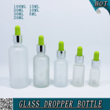 Fancy Cosmetics Frostted Glass Dropper Garrafa com borracha colorida