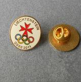 Divisa estampada hierro del Pin con el chapado en oro (PB-062)
