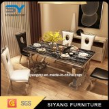 Table à manger en acier inoxydable moderne en marbre en acier inoxydable