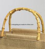 Sac à provisions de jute de promotion avec les traitements en bambou