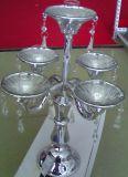 Placas de vidro de cor prata suporte para velas com cinco cartazes