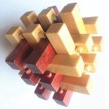 Da provocação mágica de madeira educacional do cérebro do cubo da rebarba da criança brinquedos de madeira do enigma para adultos das crianças