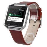 De Cuero auténtico suave sustituir la correa de la banda de reloj+Bastidor para Fitbit Blaze grande o pequeña
