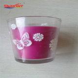 Purpurrotes Glasglas leuchtet en gros im Farben-Kasten durch