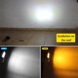 Trattore che determina il flash doppio di burst di colore di colore giallo dello stroboscopio di riga della barra 4 indicatore luminoso automatico del lavoro del quadrato LED da 4 pollici per la ruspa spianatrice del carrello elevatore a forcale