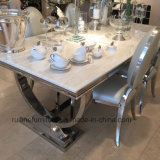 Creative moderne et Arianna Table à manger en marbre naturel en acier inoxydable
