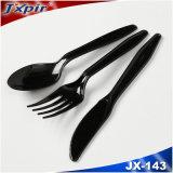 Preiswertes schwarzes biodegradierbares PS-Plastikwegwerftischbesteck-gesetzte Löffel-Messer-Gabel, Plastc Picknick-Sets