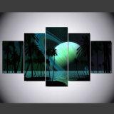 5 Ölgemälde-Kunst-Bild-Wand-Wohnzimmer-Schlafzimmer-Fotos des Panel-Palme-Himmel-HD Saturn