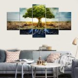 Tree off Life 5 Panel HD Print Canvas Art Wall Framed Paintings for Living room Room Wall Picture