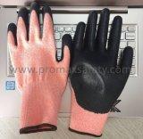 Hola la naranja del Vis cortó guantes resistentes con PU 3 cortados de inmersión