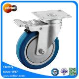 La plaque pivotante avec 5 roulettes en PU roue de roulement à billes