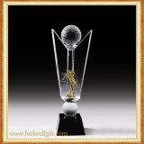 Clase de encargo del balón de fútbol del trofeo cristalino de cristal