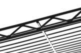 MDFの上が付いている黒3層の金属の台所カートのトロリー