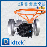 Didtek Muñón de acero forjado de 6 pulgadas de diámetro interior completo 600lb de sellado Válvula de bola blanda con engranaje de tornillo sinfín