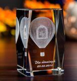 De Kubus van het Glas van het Kristal van de Ballon van de hete Lucht met 3D Laser Engraing voor Reizende Giften