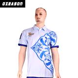 La qualité a personnalisé le T-shirt bleu estampé de polo sublimé par marque de distributeur