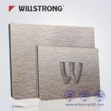 Material composto de alumínio de construção escovado prata do painel do sinal do metal