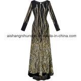 Robe longue de robe de Sequini de chemises de collet rond de modes longue