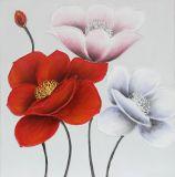 Pintura anaranjada moderna de la mano de la flor para los artes de la pared