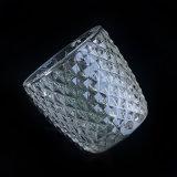 Bajo relieve MOQ portavelas de vidrio