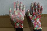 guantes del nitrilo del trabajo de la seguridad del jardín del poliester 13G con Ce